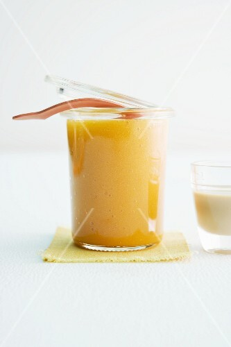A jar of apricot jam with Baileys