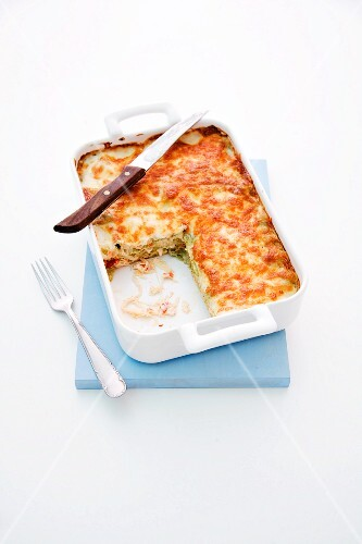 Salmon lasagne with sauerkraut and pepper