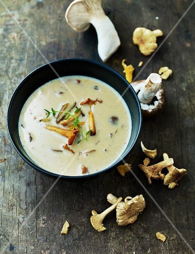 Mushroom soup with chanterelle mushrooms