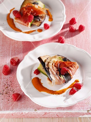 Aubergine and courgette saltimbocca with raspberries