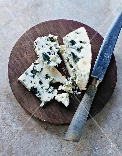 Wedge of Blue Cheese; Knife
