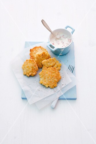 Corn cakes with pepper quark