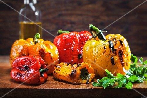 Grilled peppers, olive oil and parsley