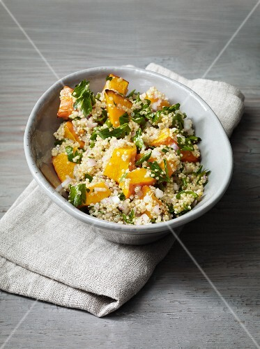 Warm quinoa with oven-roasted pumpkin