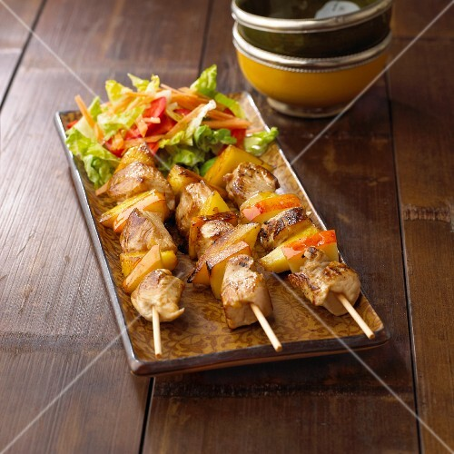 Fruity turkey satay skewers with apple and pineapple