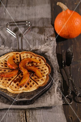 Sweet waffles with caramelised pumpkin wedges