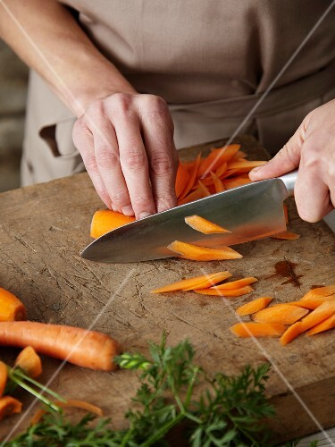 Carrots being prepared
