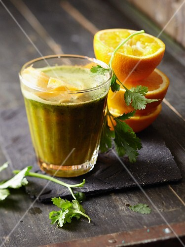 An orange, carrot and coriander smoothie