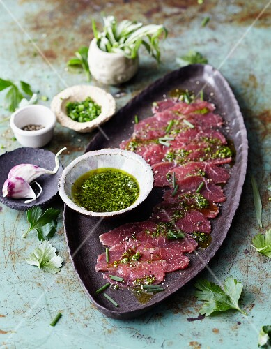 Lamb carpaccio with salsa verde