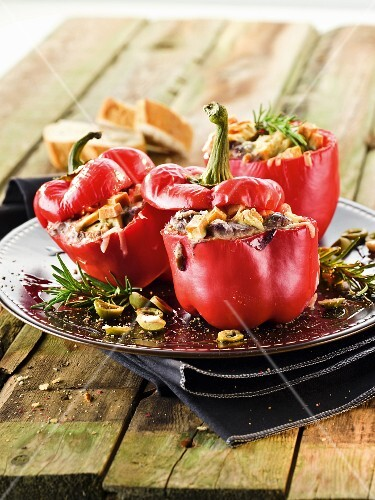 Stuffed roasted peppers with rosemary
