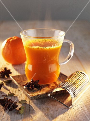 Sea-buckthorn punch with orange and star anise