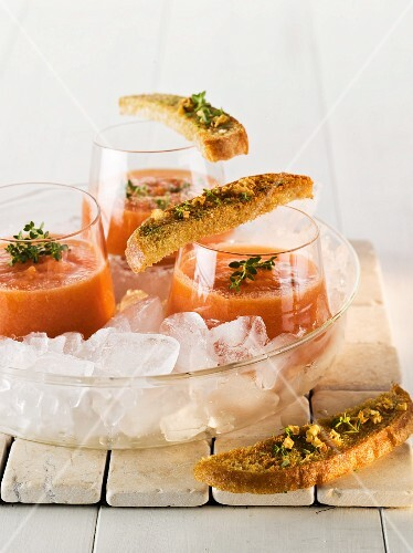 Ice cold tomato soup with grilled bread