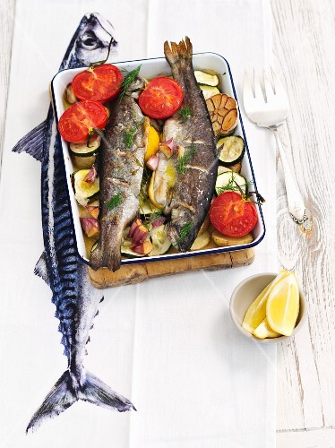 Oven-roasted trout with vegetables