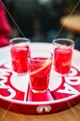 Three glasses of Campari