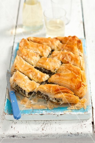 Spanakopita (puff pastry pie with spinach and sheep's cheese, Greece)