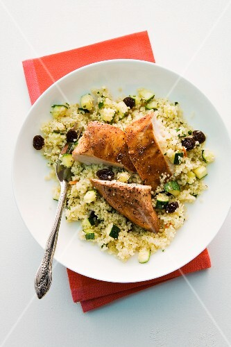 Tandoori chicken on a bed of couscous with courgettes