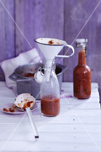 Spicy homemade sauce with wild herbs
