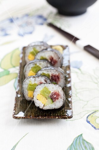 Maki sushi with omelette, cucumber and tuna