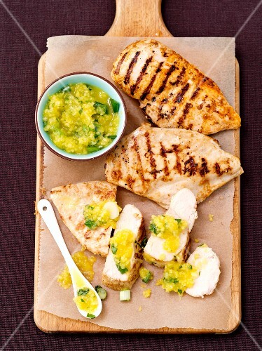 Grilled chicken breast with mango sauce