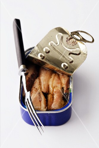 A tin of fish with a fork