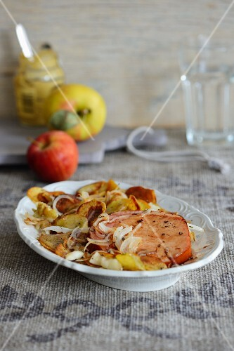 Gammon with baked apple and potatoes