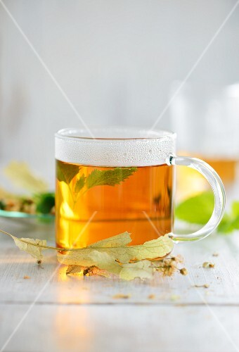 Lime leaf tea in a glass cup