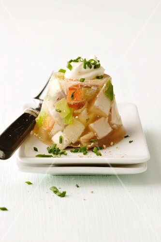 Meat and vegetables in aspic with mayonnaise
