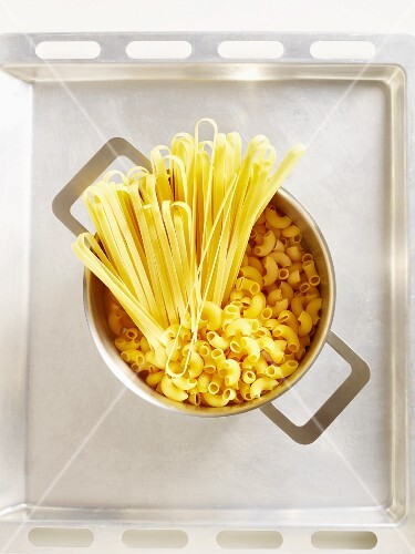 Uncooked pasta in a pan (seen above)