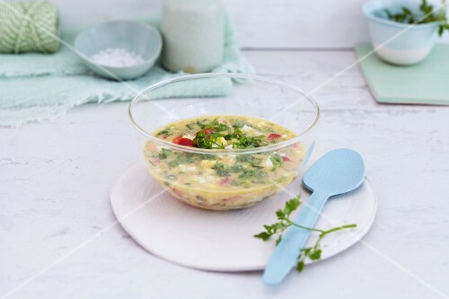 A dressing made with eggs, tomatoes and herbs