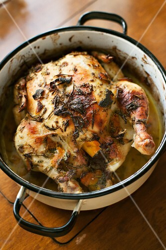 Oven roasted chicken with herbs
