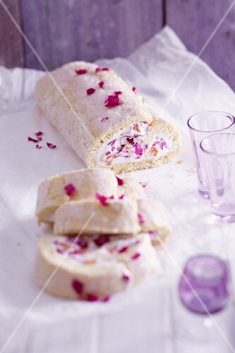 A Swiss roll filled with rose petal cream