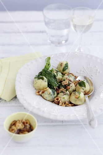Saltbush gnocchi with nuts