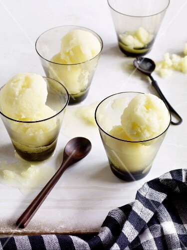 Pineapple sorbet in dessert glasses