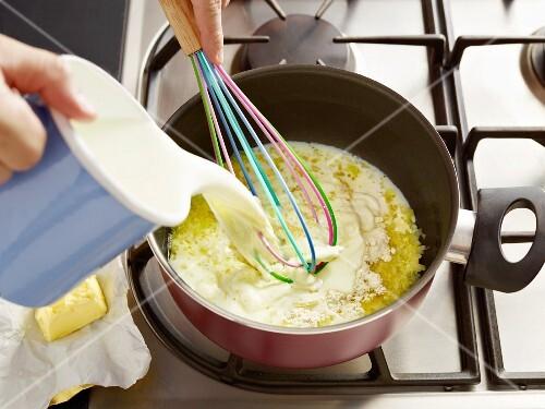 Bechamel sauce for lasagne being made