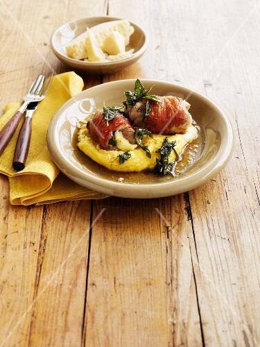 Chicken roulade with prosciutto, mozzarella and polenta