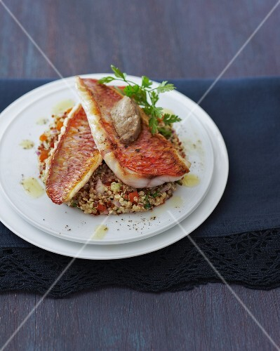 Red mullet on a bed of quinoa