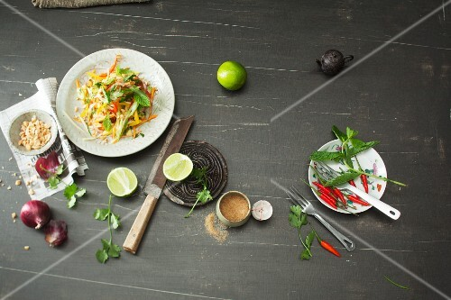 Thai vegetable salad with ingredients