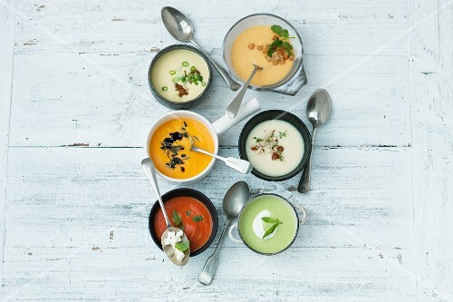 Six different vegetarian soups (seen from above)