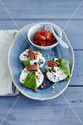Goat's cream cheese with wild garlic, pecan nuts and tomato chutney