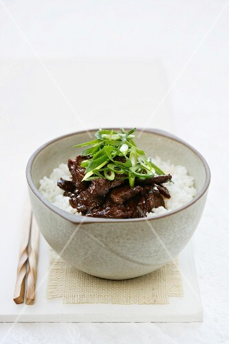 Teriyaki beef with rice