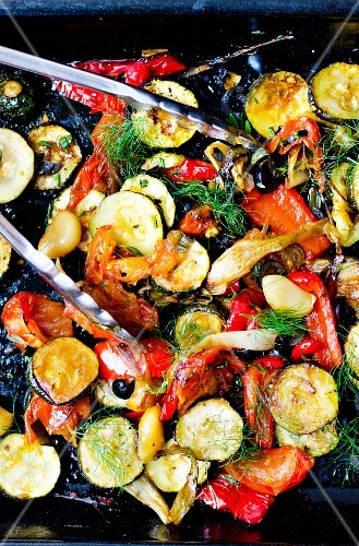 A roasted vegetable salad with dill (Italy)