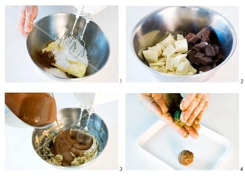 Chocolate and cinnamon truffles being made