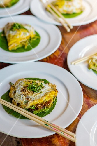 Omelettes with Pad Thai (noodle dish, Thailand)