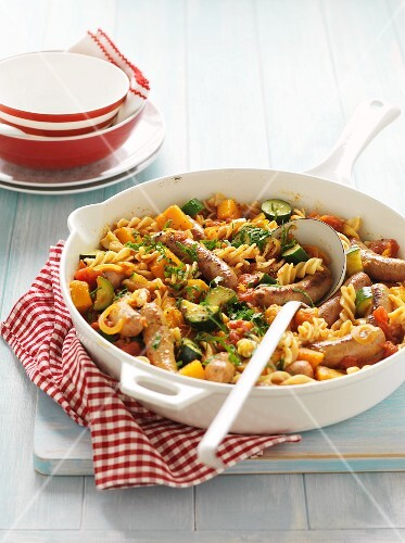 Pasta with vegetables and sausage