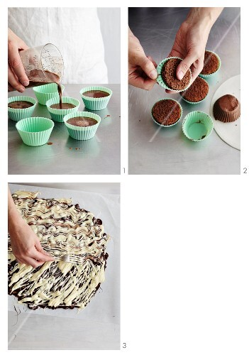 Sponge cakes with chocolate decorations being made
