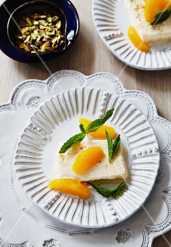 Orange ice cream with mint