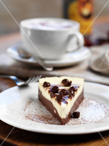 Chocolate cheesecake and a cup of coffee