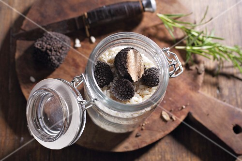 Risotto rice and black truffles in a jar
