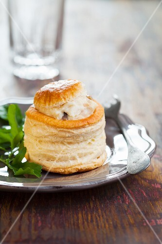 A vol-au-vent with a turkey filling