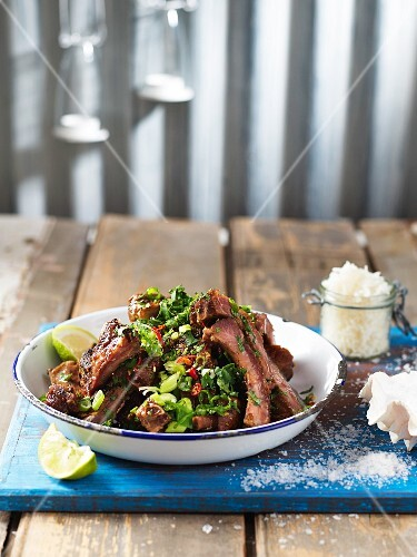 Spicy pork ribs with oyster sauce (Mauritius)